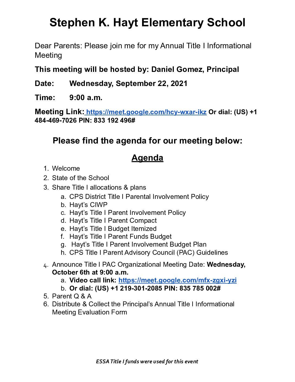 FY22 Hayt Principal Annual Meeting Notice & Agenda
