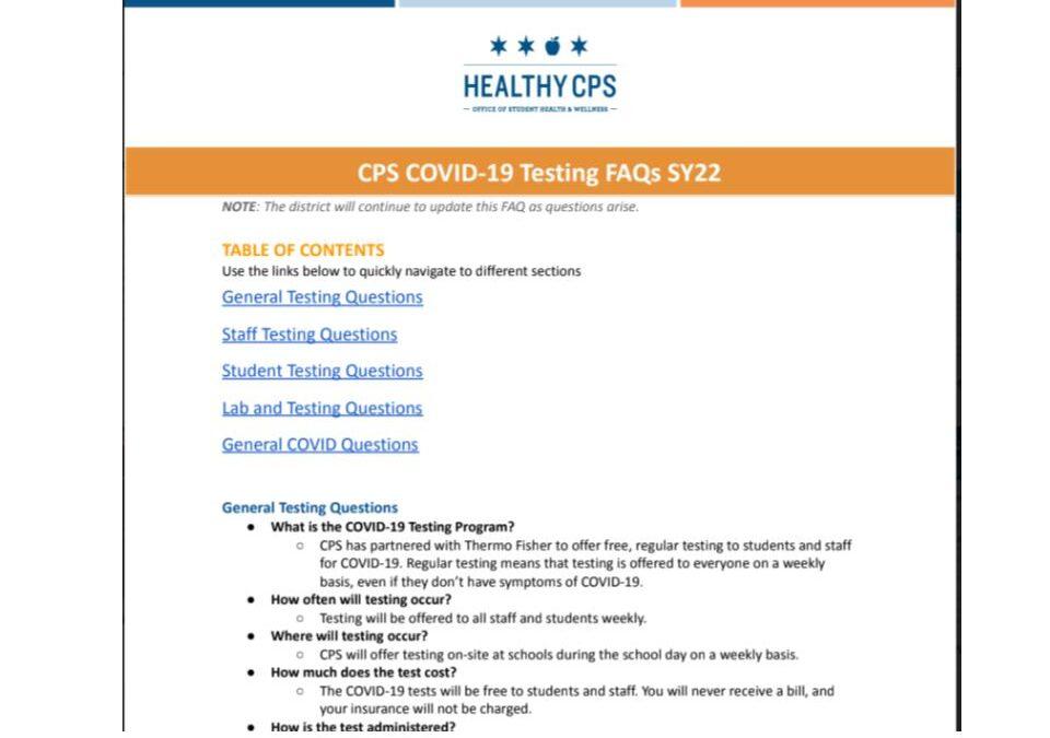 CPS Covid 19 Testing FAQs